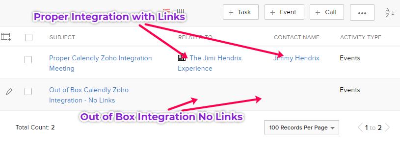 Calendly Zoho CRM Integration example